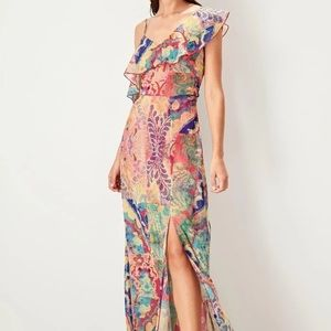 Colorful Mixed Print Floral Ruffle Shoulder Dress